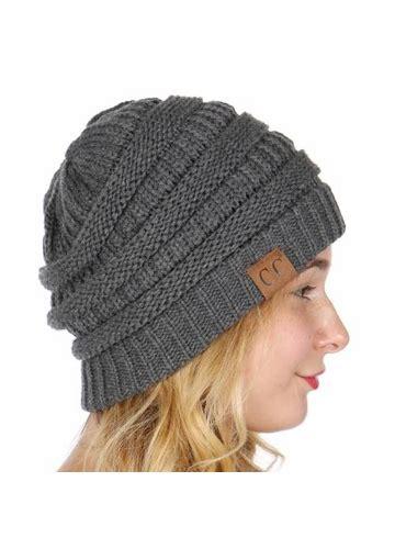 Melange Beanie Hat melange grey ribbed knit cc beanie hat