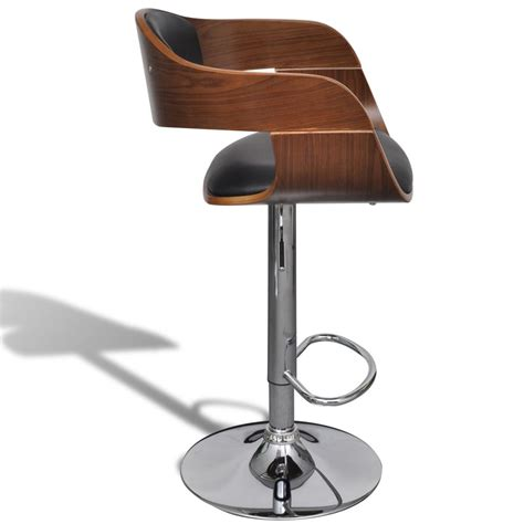 Bar Stool With Backrest Adjustable Swivel Bar Stool Leather With Backrest Vidaxl Co Uk