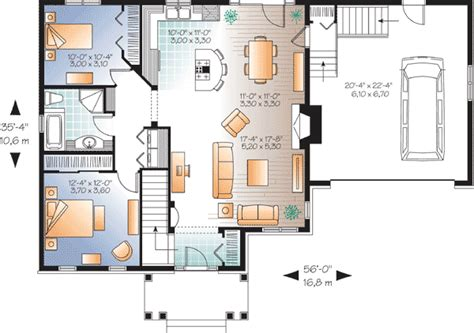 open plan bungalow floor plans budget bungalow 21977dr 1st floor master suite cad
