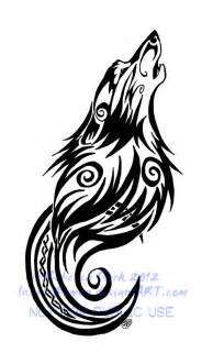 tribal swirls wolf and moon tattoo by insaneroman on