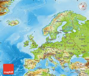 Physical Map Of Western Europe by Physical Map Of Europe