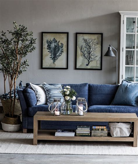 living room blue sofa affordable colorful furniture in sleek interior design with grey theme hupehome