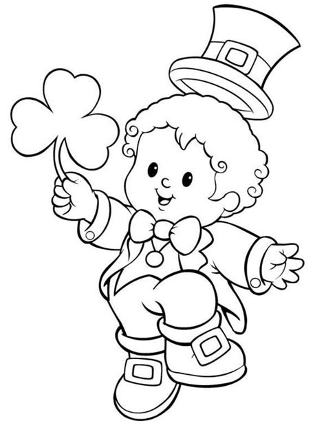 Baby Leprechaun Coloring Page | little kid in leprechaun costume celebrating st patricks