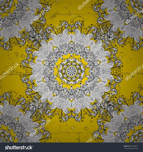 yellow royal pattern ornamental on yellow background pattern medieval stock