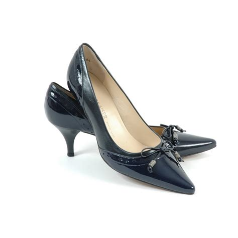 navy shoes for ploen womens kitten heel shoes in navy leather kitten