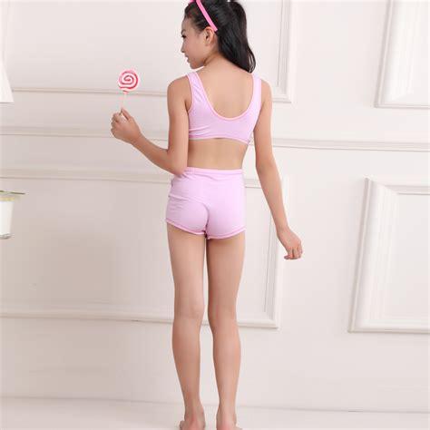 tween girl sexting pick bra and underwear cotton underwear students children vest kids underwear set