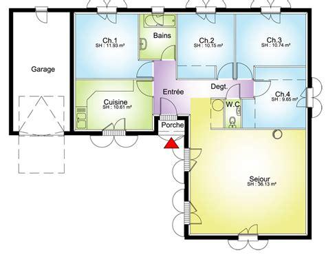 plan maison plain pied en l 4 chambres maison contemporaine plans maisons