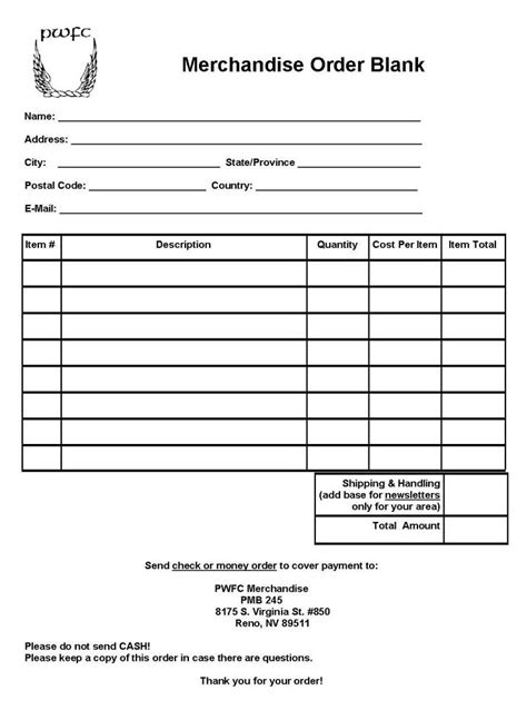 blank order form template blank order form blank purchase order form 11 sle