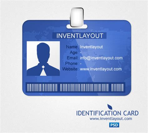 Template Id Card Photoshop Zebra Printer by Identification Card Psd Inventlayout