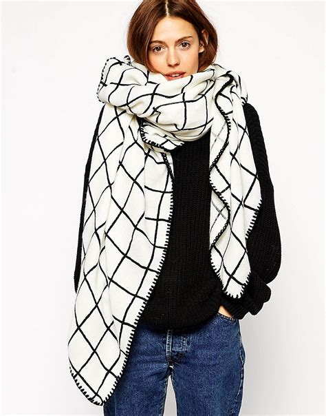 asos asos oversized grid check square scarf at asos