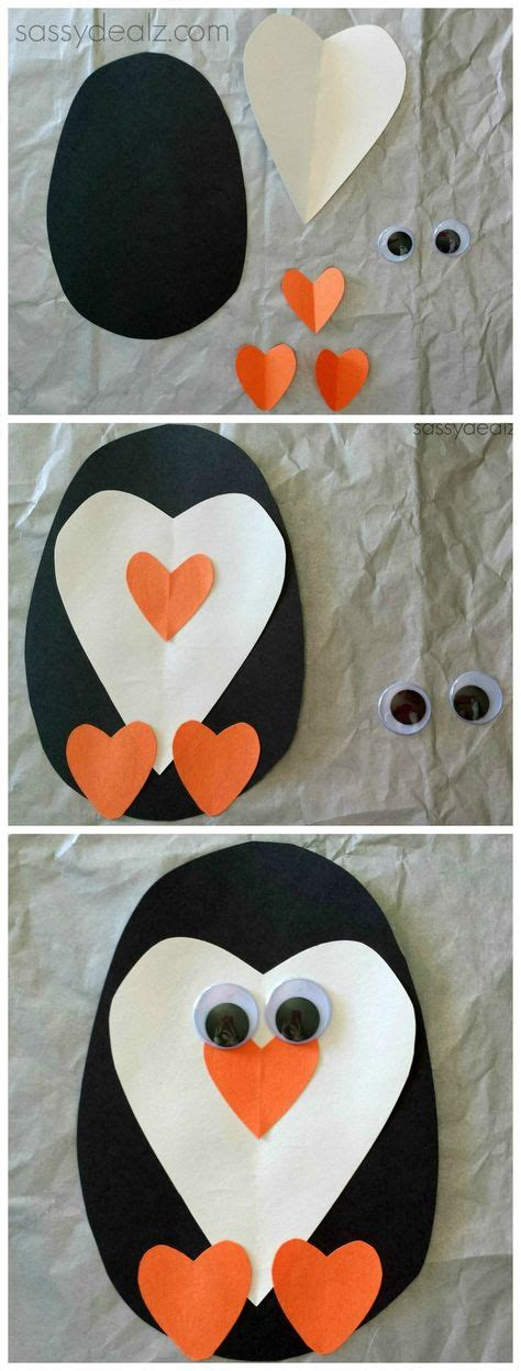 Winter Animal Crafts - paper penguin craft for valentines craft diy