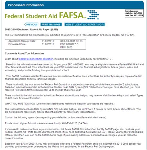 sle student aid report view fafsa student aid report freecourseware web fc2