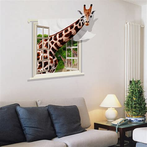 room wall decal 3d lovely giraffe wall sticker decal animal wallpaper living room home decor mural at banggood