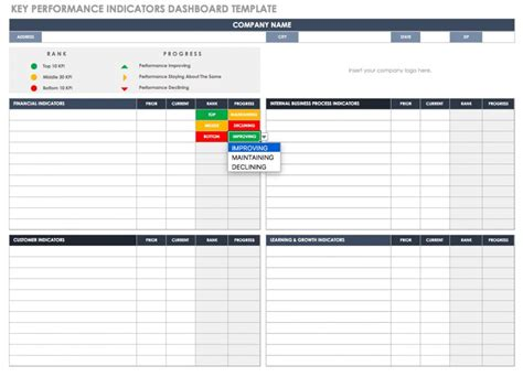 Balanced Scorecard Exles And Templates Smartsheet Key Performance Indicators Templates Excel