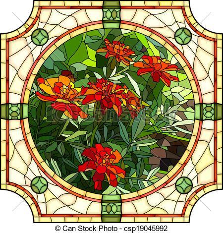 mosaico fiori mosaico fiore rosso marigold germogli brillantemente