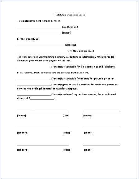 printable sle rental lease agreement templates free