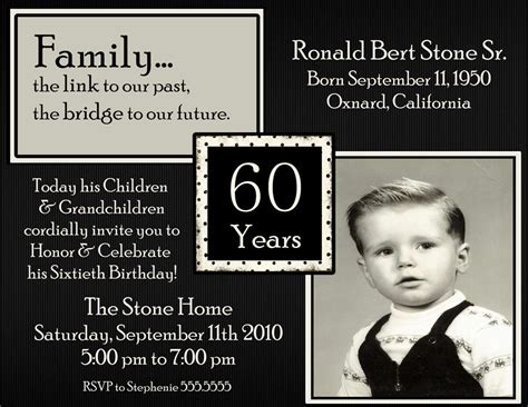 masculine card template 20 ideas 60th birthday invitations card templates