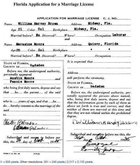 Looking For Marriage License Records Florida Marriage License Application Form