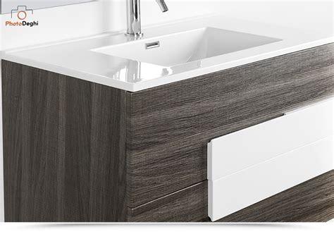 mobile per lavabo con colonna mobile bagno moderno 100 cm con lavabo rovere scuro con