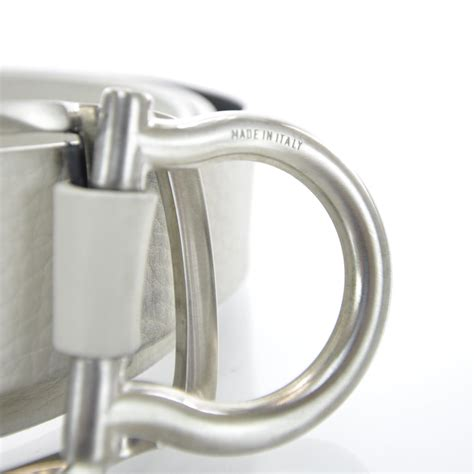 Ferragamo White salvatore ferragamo leather single gancini belt white 29646