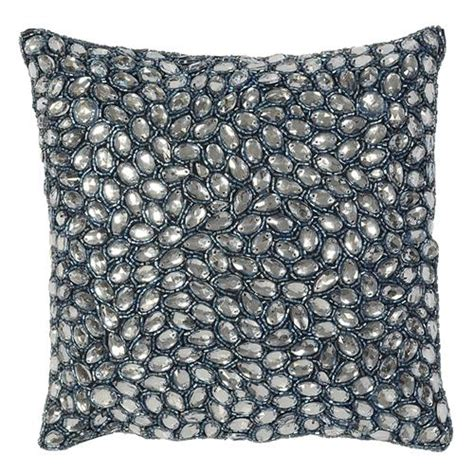 Jeweled Pillows by Navy Grey Jeweled Beaded Pillow 10x10