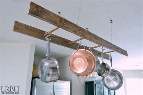 diy kitchen pot rack bigdiyideas com hometalk diy ladder pot rack