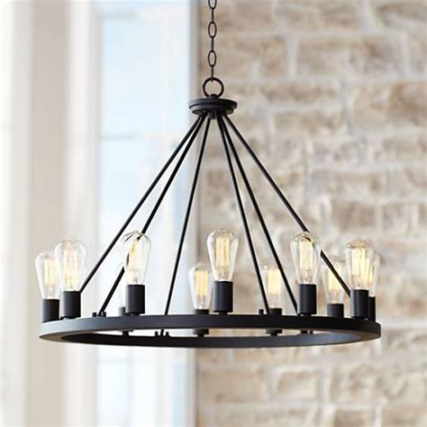 """Lacey 28"""" Wide Round Black Chandelier   #W7307   Lamps Plus"""