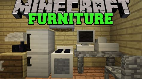 minecraft furniture mod computer tv fridge oven couch  mod showcase youtube