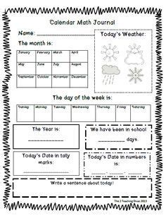 printable everyday math journal pages free daily calendar page daily calendar homeschool and