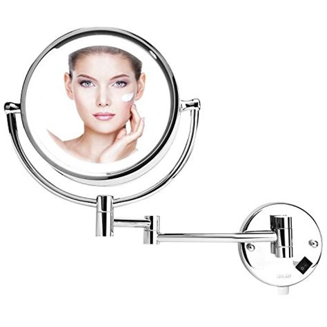 exclusive telescopic cosmetic wall mirror chrome 3 x 8 inch led lighted wall mount makeup mirror with 10x