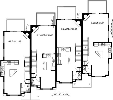 4 bedroom townhouse floor plans floor plan 2 for f 540 townhouse plans 4 plex house