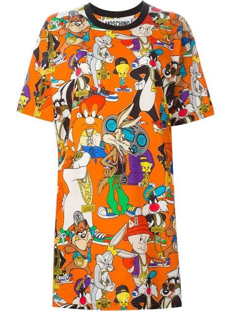 Looney Blouse By Aiko Store lyst moschino looney tunes print t shirt dress