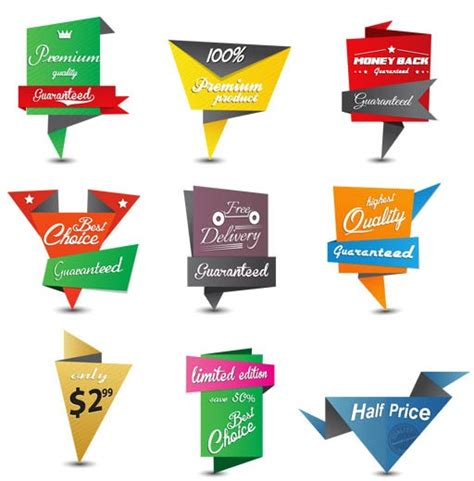 Origami Sale - origami sale stickers ai format free vector