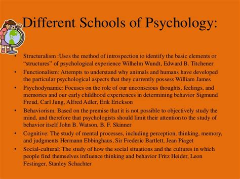 Psychology And The School schools of psychology