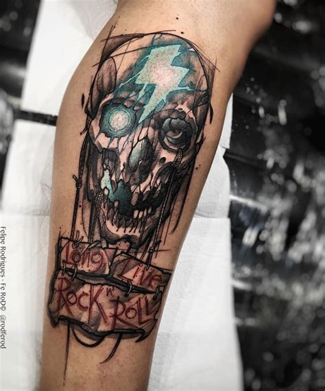 skull amp long live rock n roll best tattoo design ideas