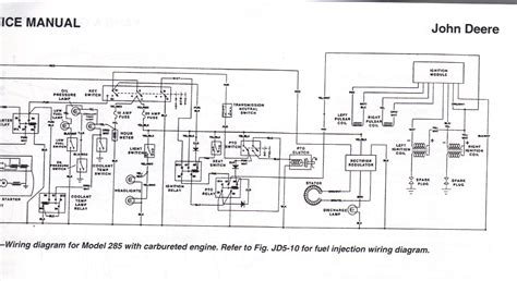 service manual wiring diagram for model 285 with carbureted engine deere wiring diagram