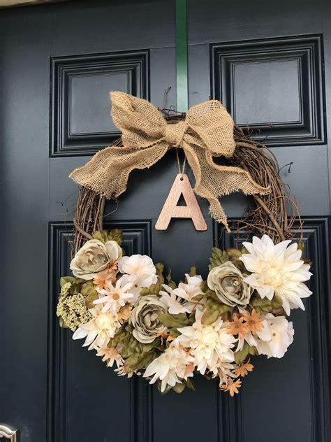 neutral toned custom fall front door wreath diy fall