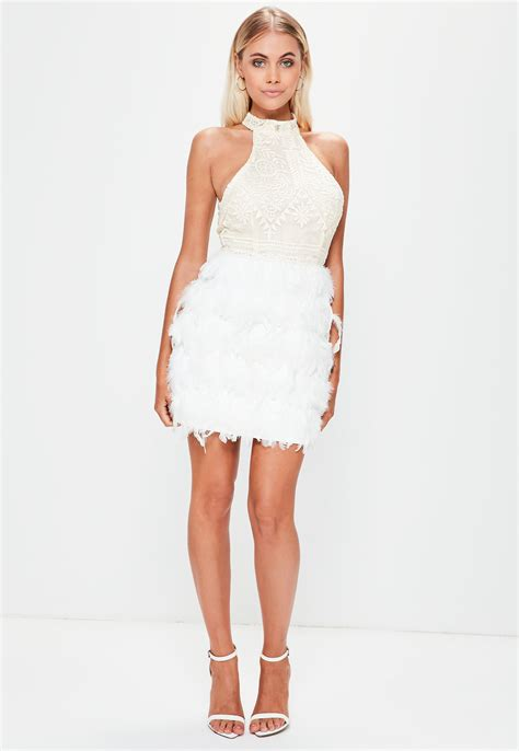 Lord Highneck Bodycon Dress lyst missguided white high neck lace feather hem bodycon