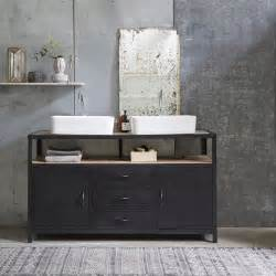 tikamoon industriel metal and mango vanity cabinet 140