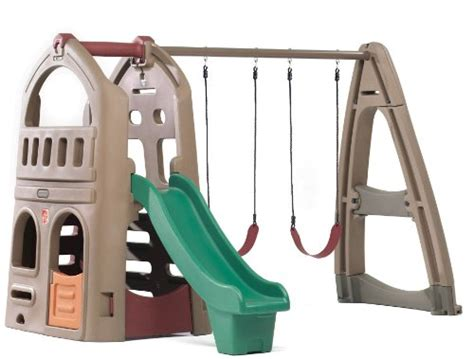 step2 naturally playful playhouse climber and swing extension outdoor climber playsets for toddlers