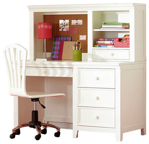 White Desk With Hutch And Drawers Lea Willow Run 4 Drawer Desk With Hutch Chair In Linen White Traditional Baby And