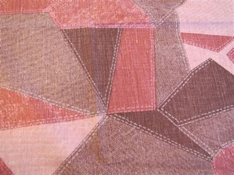 Denim Patchwork Fabric - 1970 s pink denim patchwork fabric patchwork fabric
