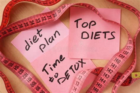 Cost Of Detox Fad by Papers With Meal Plan Top Diets Time To Detox Stock