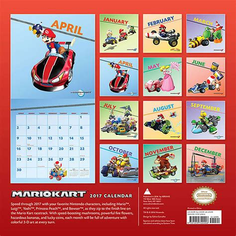 Calendario Kart 2016 2017 Mario Kart Wall Calendar Thinkgeek