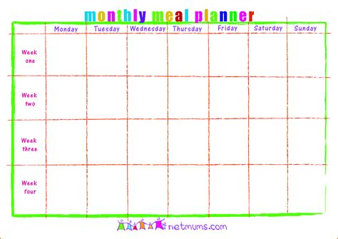 lunch calendar template meal planner calendar