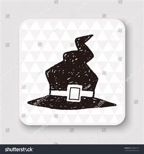 doodle witch hat witch hat doodle stock vector 363824177
