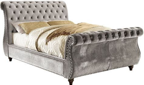 grey sleigh bed noella gray king upholstered sleigh bed cm7128gy ek