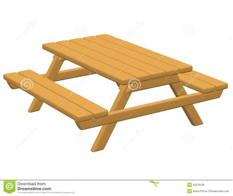 3d Render Of A Picnic Table Stock Illustration   Image