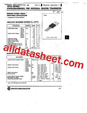 transistor tip 42 tip42c datasheet pdf samsung semiconductor