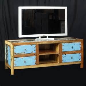 meuble tv bois de bateau recycle en teck de chez origin s
